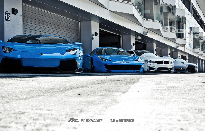 Фото обои машины, тюнинг, Lamborghini, Porsche, BMW, Ferrari, Nissan, гаражи, Liberty Walk