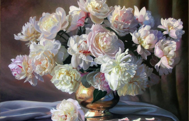 Фото обои цветы, букет, картина, лепестки, ткань, ваза, белые, натюрморт, пионы, Zbigniew Kopania