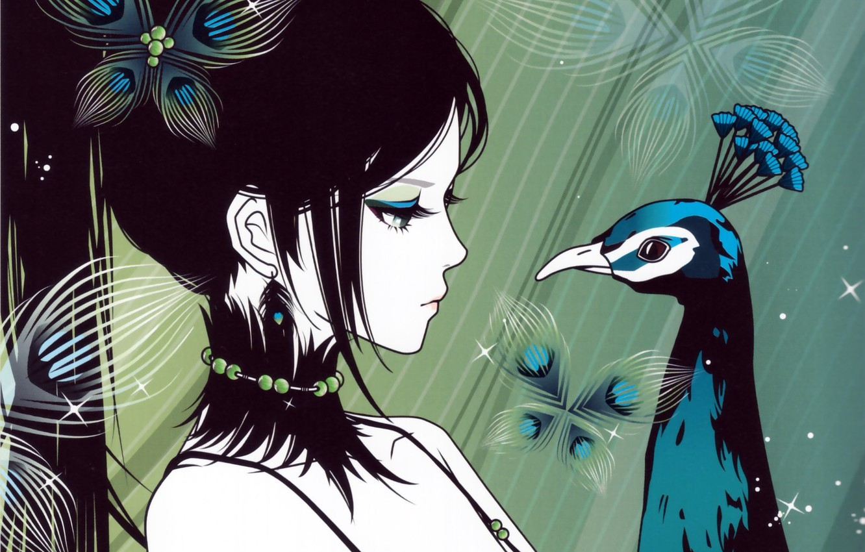 Фото обои взгляд, девушка, аниме, арт, хвост, профиль, павлин. птица