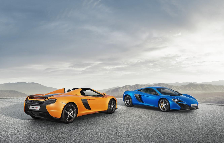 Фото обои McLaren, Синий, Оранжевый, Orange, Blue, Coupe, Spyder, Supercars, Суперкары, 2014, 650S
