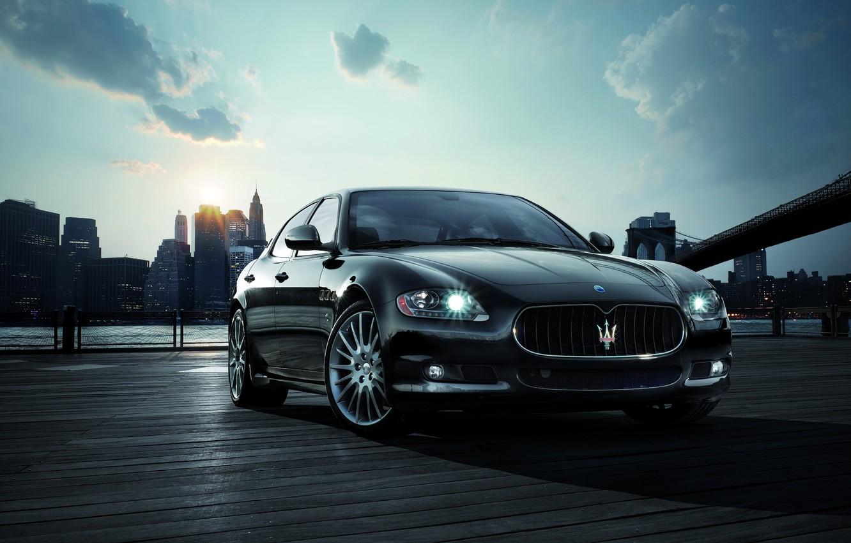 Фото обои солнце, Maserati, Нью-Йорк, утро, Quattroporte Sport GT S
