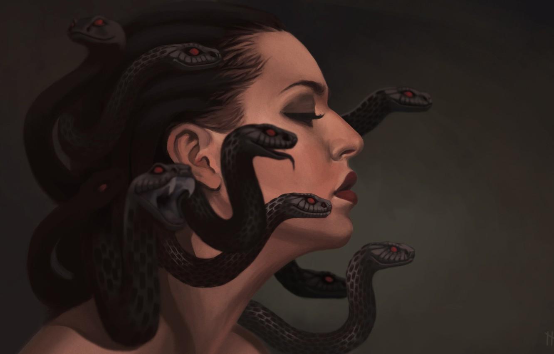 Фото обои змеи, арт, профиль, gargona, медуза Горгона