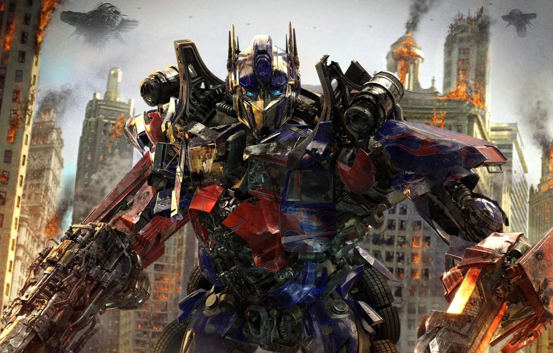 Фото обои город, оружие, фантастика, роботы, the movie, battle, автоботы, Optimus Prime, Оптимус Прайм, Майкл Бэй, Michael …