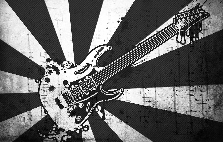 Фото обои ноты, музыка, черно-белая, вектор, Гитара