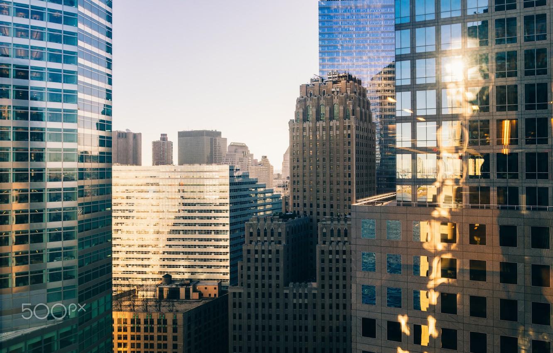 Фото обои свет, город, окна, дома, США, Нью Йорк