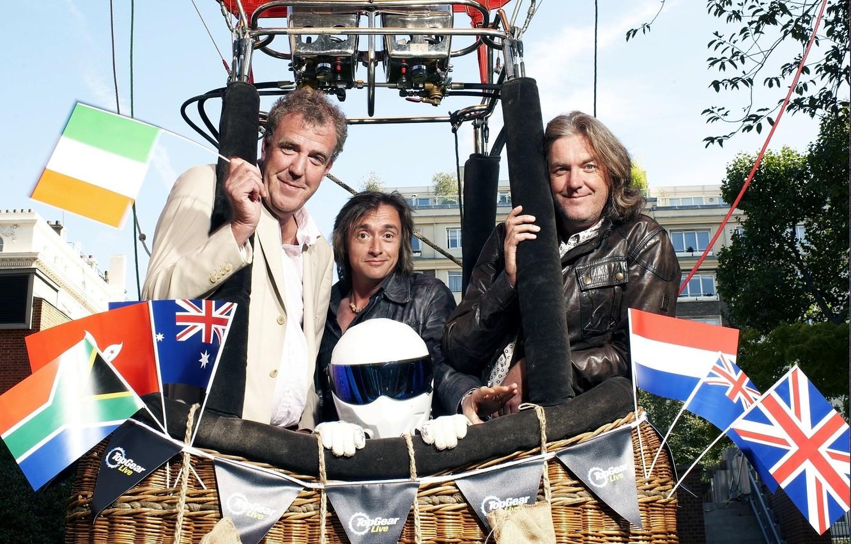 Фото обои воздушный шар, Jeremy Clarkson, Top Gear, флаги, and, The Stig, самая лучшая телепередача, высшая передача, …