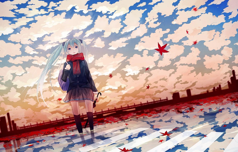 Фото обои осень, зонтик, аниме, девочка, листочки, вокалоид, anime, мику, vokaloid