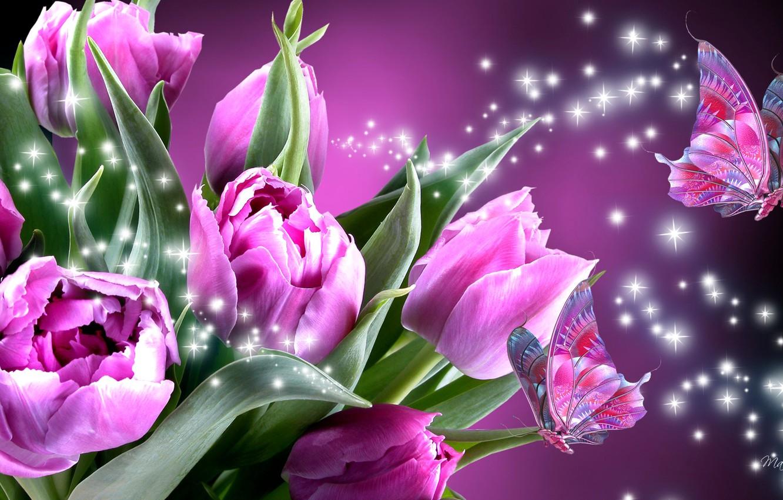 Обои мотылек, цветы, Коллаж. Разное foto 11
