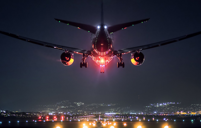 Обои Япония, ночь, Самолёт, Боинг 747. Авиация foto 10