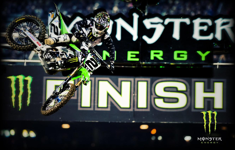 Фото обои прыжок, Monster Energy, energy, Motocross, мотцикл, гонщик.
