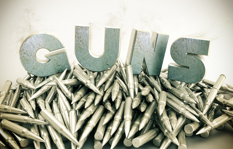 Фото обои металл, оружие, дым, guns, патроны