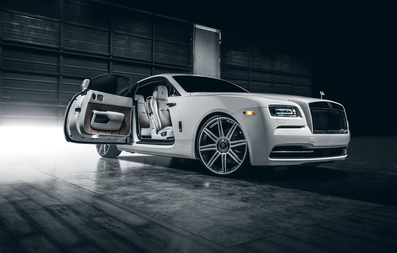 Фото обои Rolls-Royce, Car, White, Wheels, Class, Premium, Wraith, Vellano