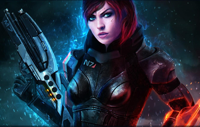 Фото обои девушка, рыжая, mass effect, shepard, bioware, commander, renegade, Assault Rifles