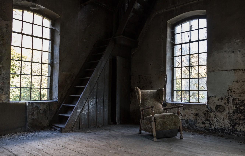 Фото обои комната, окна, кресло