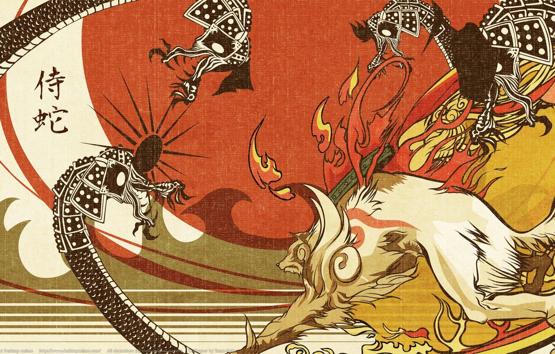 Фото обои пламя, драконы, лис