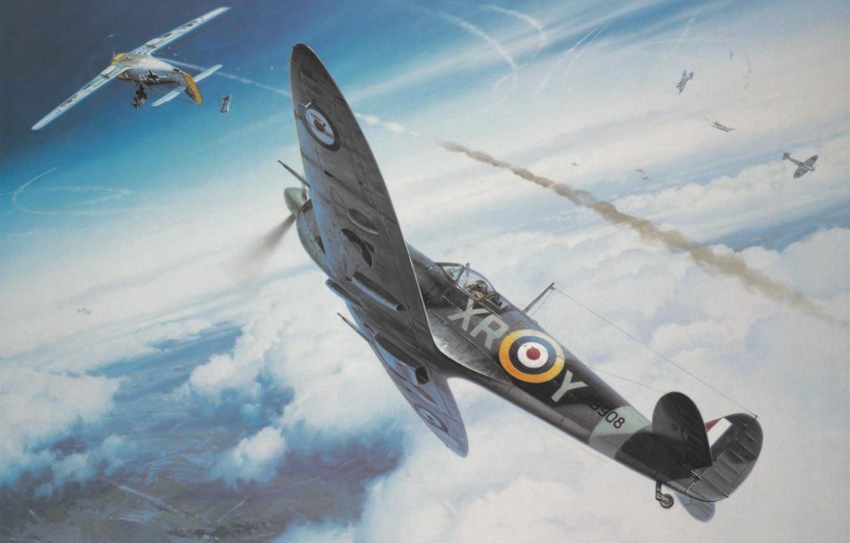 Обои ww2, dogfight, war, spitfire, painting. Авиация foto 9