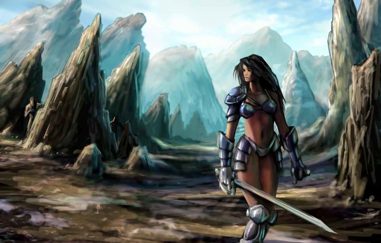 Фото обои девушка, горы, скалы, меч, доспехи