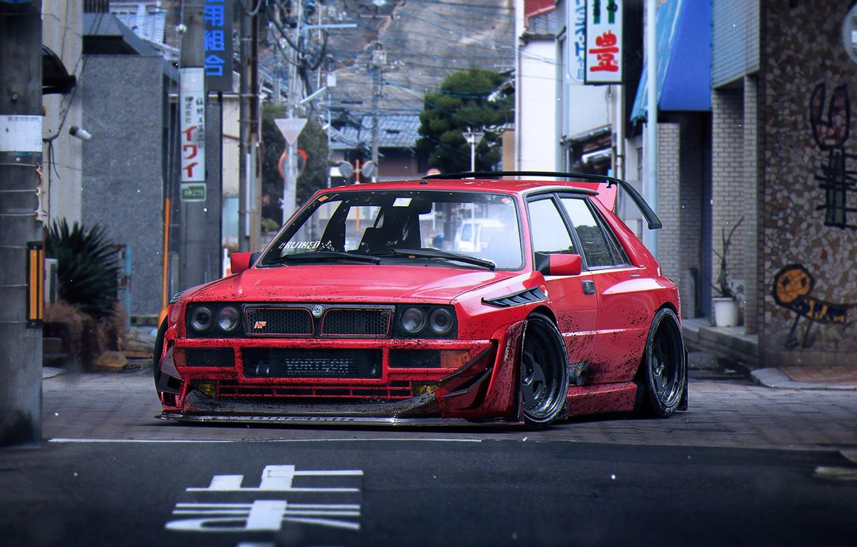 Фото обои Red, Lancia, Tuning, Future, Delta, Wheels, Integrale, by Khyzyl Saleem, Fifteen52