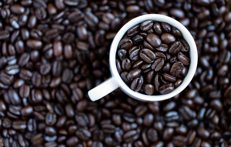Фото обои кофе, кружка, кофейные зёрна
