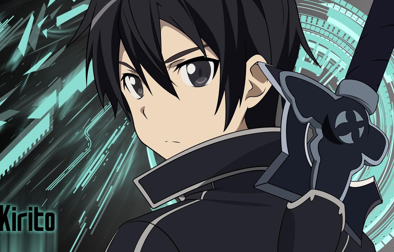 Фото обои wallpaper, sword, game, anime, boy, ken, blade, asian, player, manga, japanese, Sword Art Online, Kirito, …