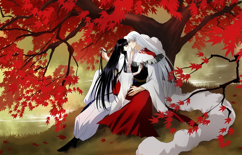 Фото обои осень, листья, девушка, река, дерево, арт, парень
