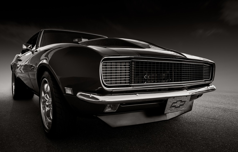 Фото обои ретро, Chevrolet, Camaro, классика, передок, 1968