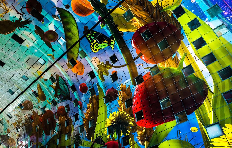 Фото обои здание, фрукты, Нидерланды, архитектура, овощи, Netherlands, Роттердам, Rotterdam, Markthal Rotterdam, Market Hall