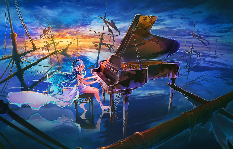 Фото обои небо, девушка, облака, закат, корабли, аниме, рояль, арт, мачты, inzanaki
