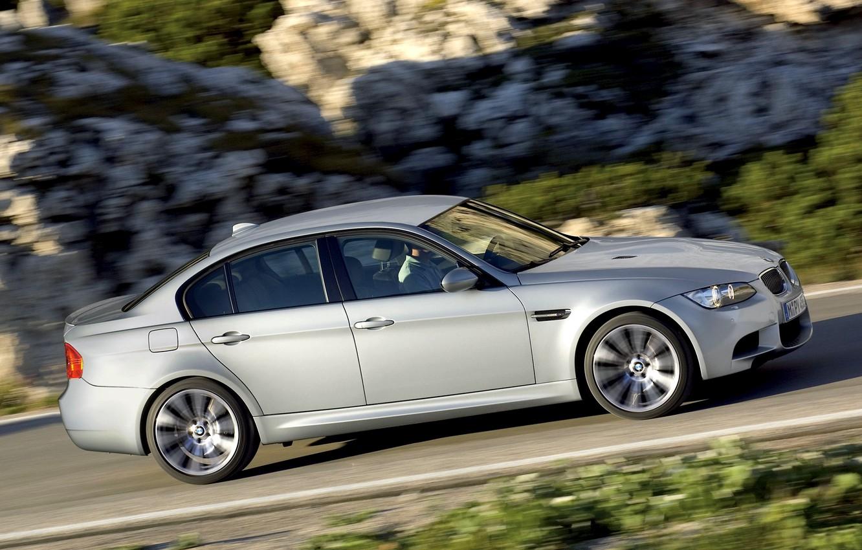 Фото обои Авто, BMW, Машина, Бумер, Серый, БМВ, Седан, Вид сбоку, В Движении, Limousine