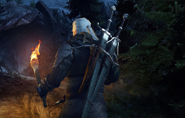 Фото обои факел, пещера, мечи, ведьмак, rpg, геральт, арбалет, дикая охота, wild hunt, the witcher 3, cd …
