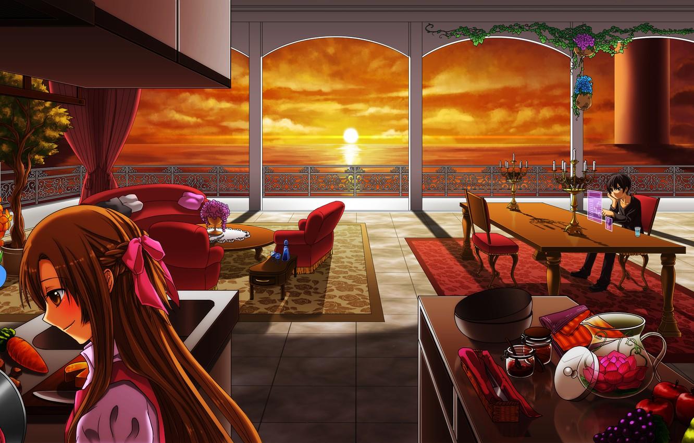 Фото обои море, девушка, закат, комната, столы, кухня, парень, фрукты, sword art online, yuuki asuna, kirito