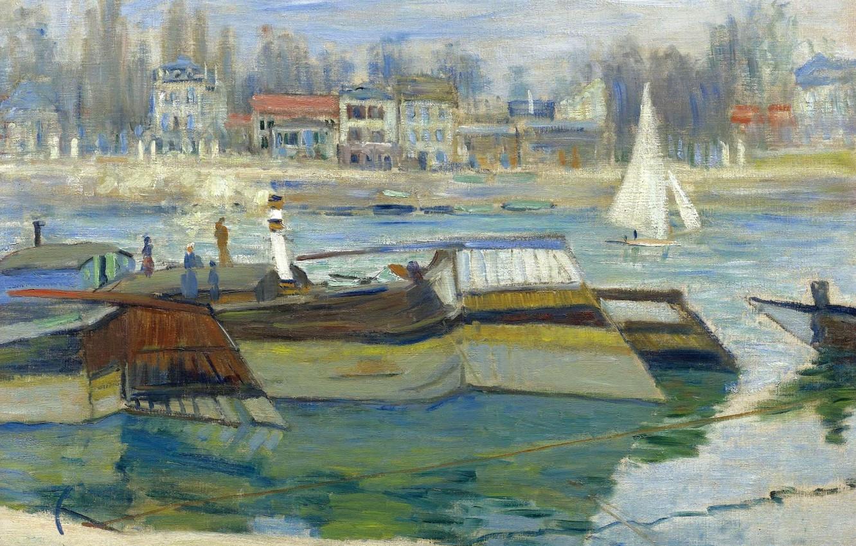 Обои Закат на Сене, Клод Моне, парус, лодка, Пейзаж, картина. Разное foto 13