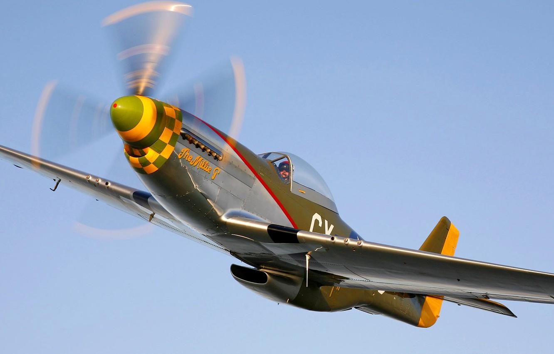 Фото обои небо, полет, ретро, самолет, истребитель, пилот, пропеллер, P-51 Mustang