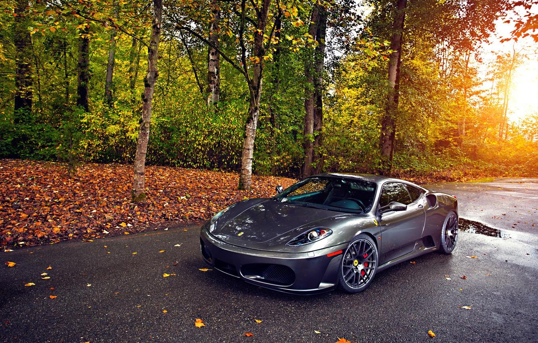 Фото обои Ferrari, Green, Sun, Autumn, Tuning, asphalt, Silver, 430, Wheels, Trees, Leaf