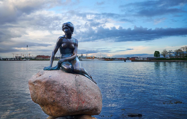 Фото обои Дания, порт, статуя, Русалочка, Denmark, Copenhagen, Копенгаген