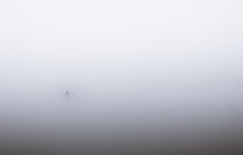 Фото обои туман, река, лодка