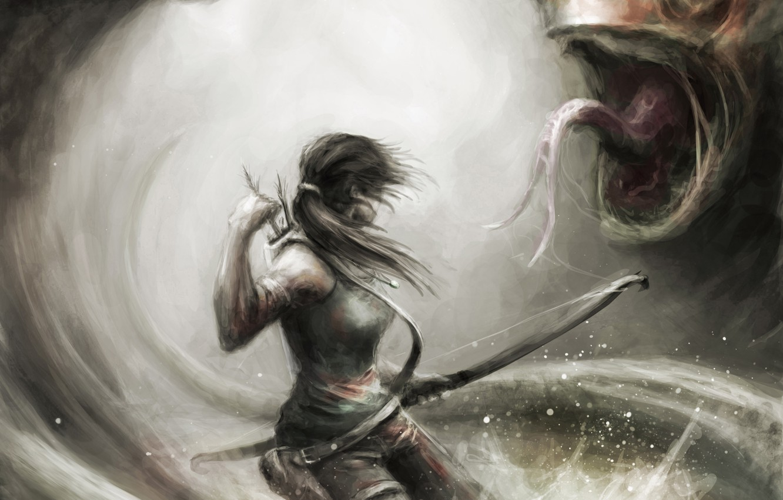 Фото обои девушка, оружие, монстр, лук, арт, Tomb Raider, стрелы, Lara Croft