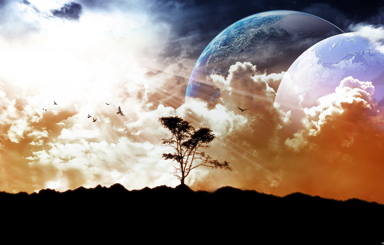 Фото обои небо, земля, луна