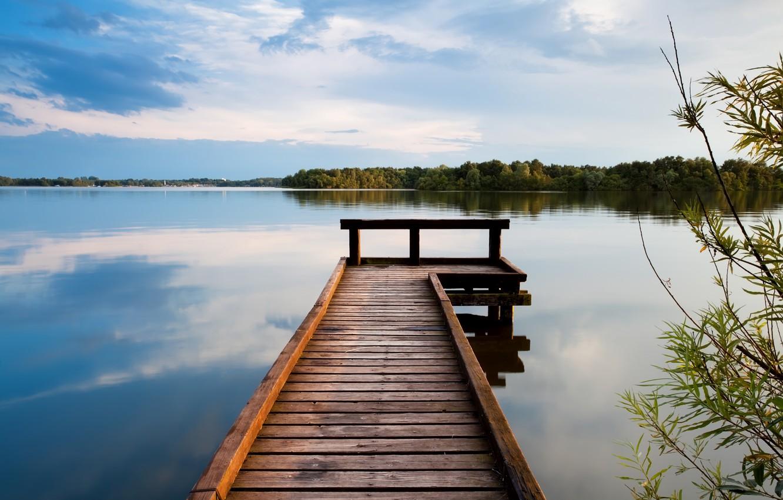 Фото обои вода, пейзаж, озеро, пирс