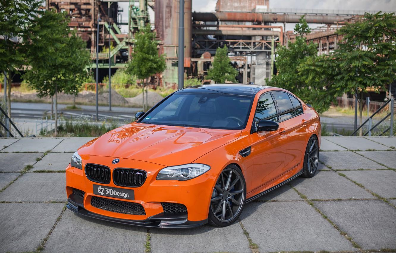 Фото обои car, тюнинг, BMW, автомобиль, передок, orange, 3D Design