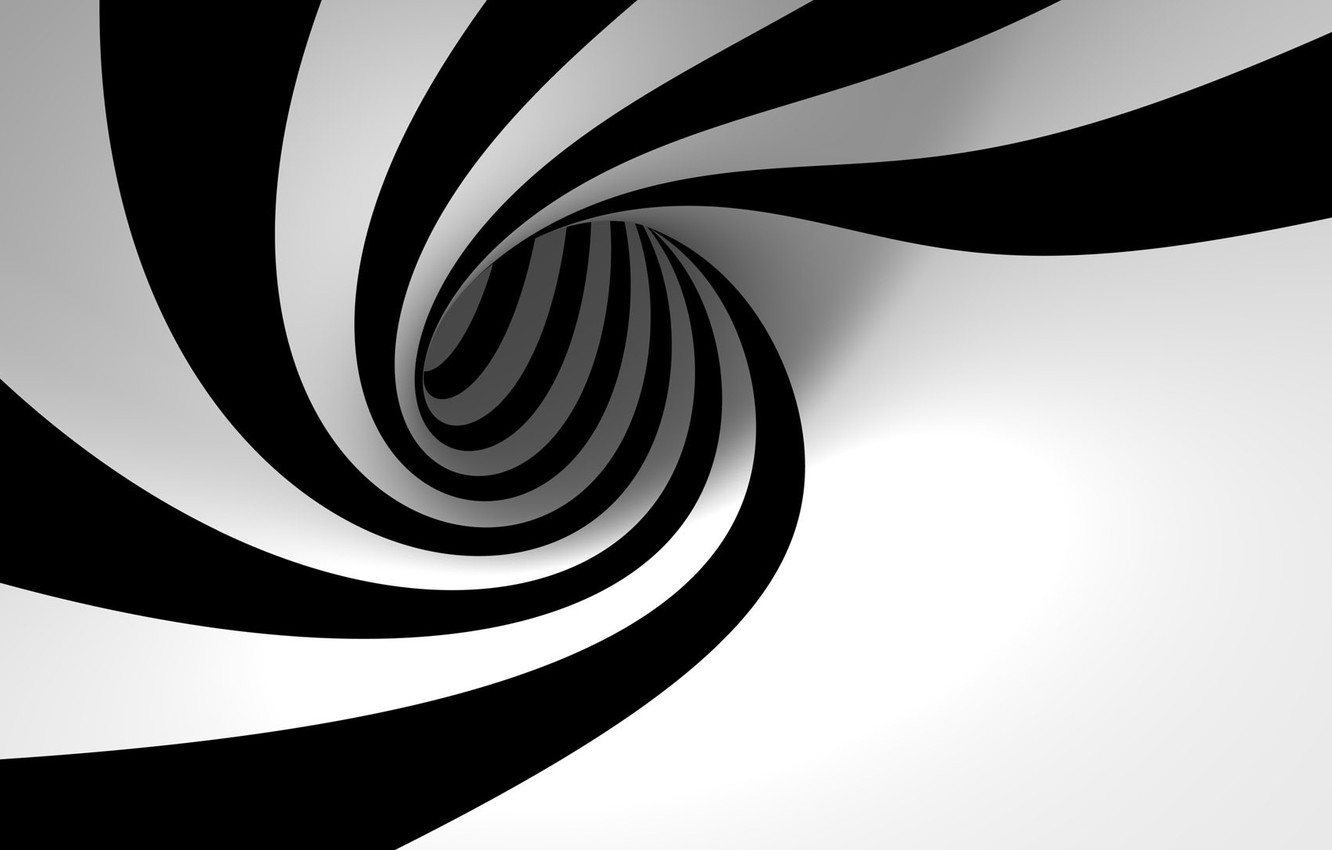 Фото обои Abstract, Black, White, Trippy, Swirls