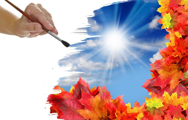Фото обои осень, листья, солнце, облака, рисунок, рука, кисть