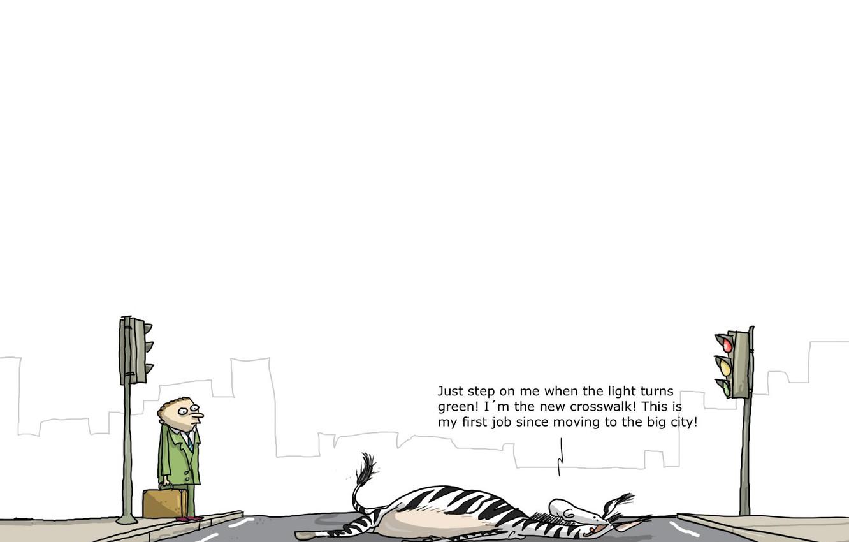 Фото обои юмор, Wulffmorgenthaler, зебра, переход, карикатура