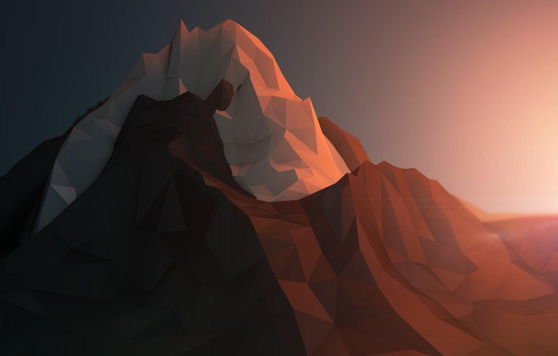 Фото обои лед, снег, горы, рендеринг, скалы, минимализм, геометрия