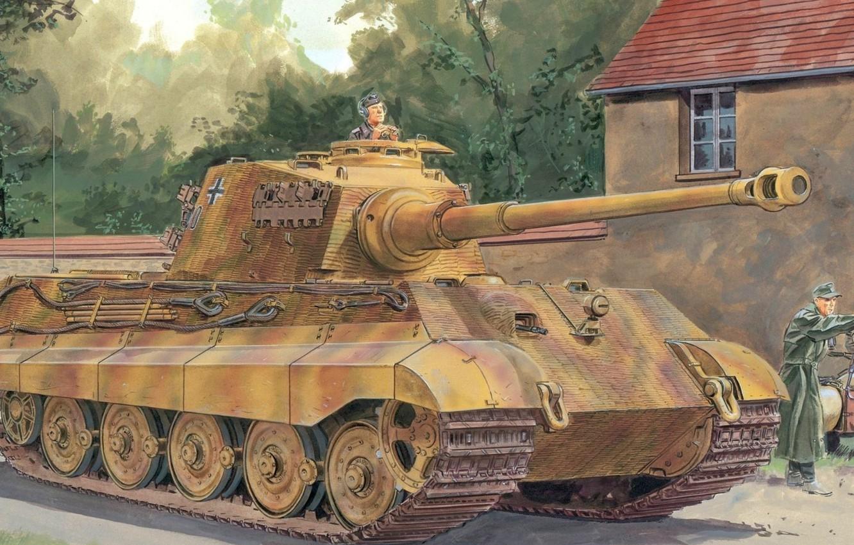 Фото обои war, art, ww2, german tank, panzerkampfwagen, panzer tank, tiger tank, panzer Vll