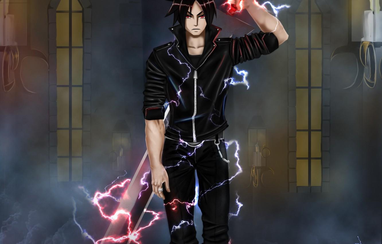 Фото обои оружие, магия, меч, аниме, арт, парень, air monger