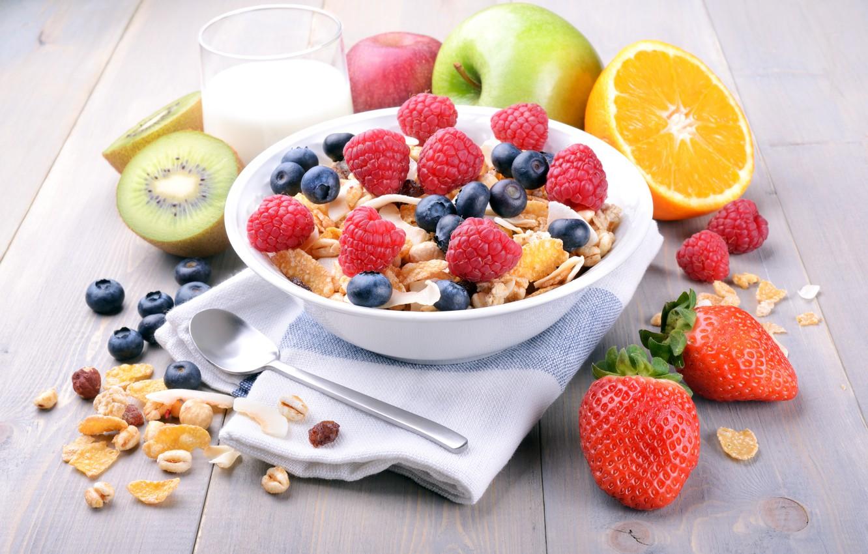 Фото обои ягоды, малина, завтрак, молоко, черника, клубника, фрукты, злаки, fresh, berries, breakfast, мюсли, muesli, healthy