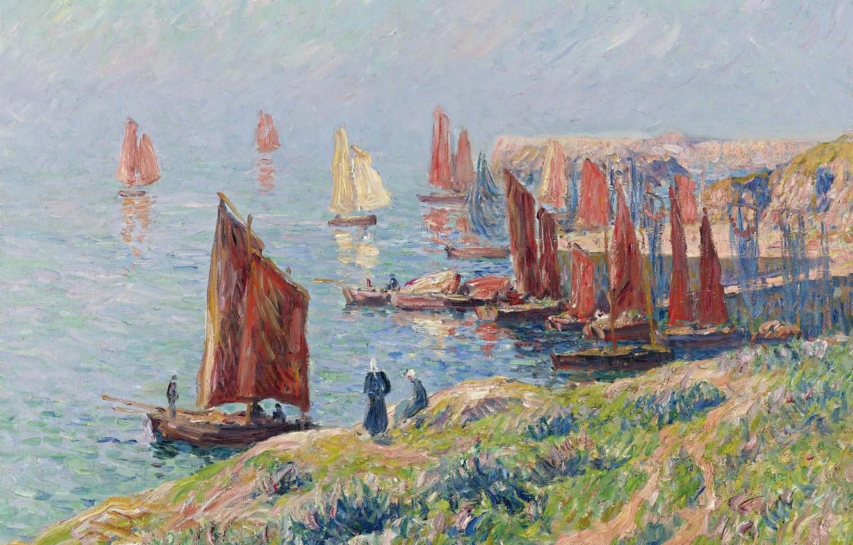 Фото обои море, небо, пейзаж, люди, скалы, картина, лодки, парус, Henri Moret, Returning of the Boats