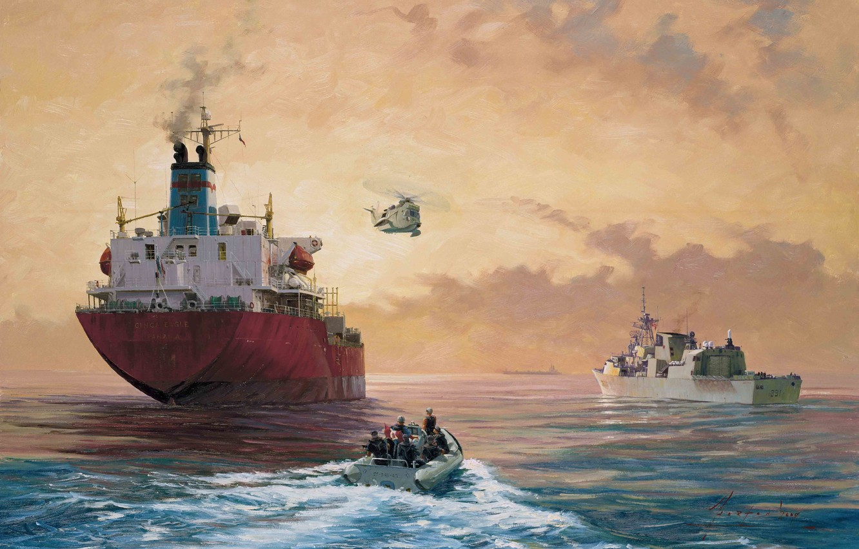 Фото обои октябрь, арт, США, флот, живопись, операция, морской, года, королевский, 2003, 2001, военно, военной, John Horton, …