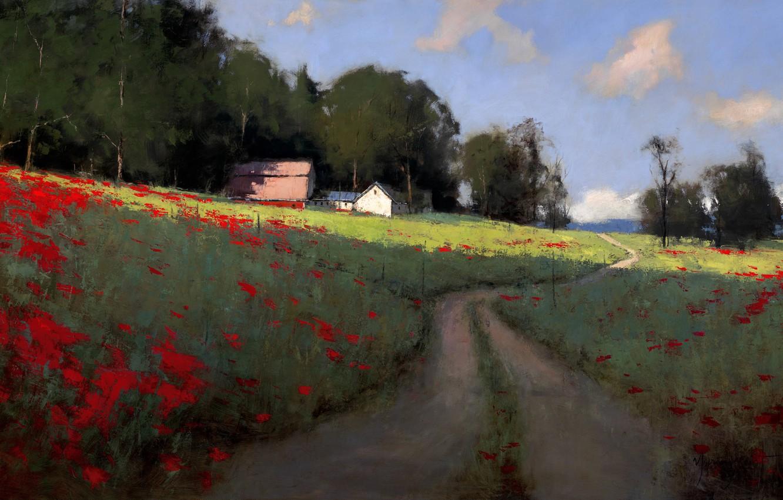 Фото обои дорога, поле, лето, небо, облака, деревья, пейзаж, маки, дома, картина, арт, колея, тропинка, поселок, Romona …